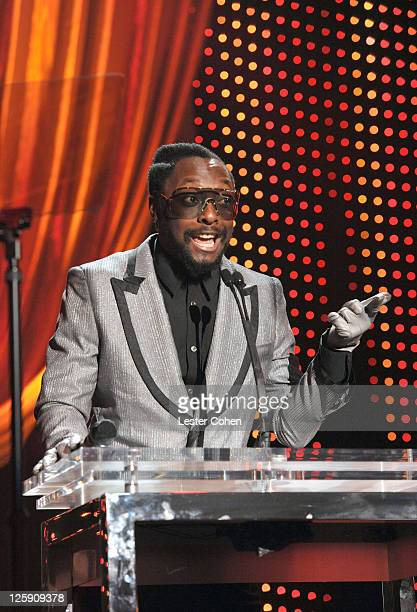Will.i.am. Speaks onstage at 2011 MusiCares Person of the Year Tribute to Barbra Streisand at Los Angeles Convention Center on February 11, 2011 in...