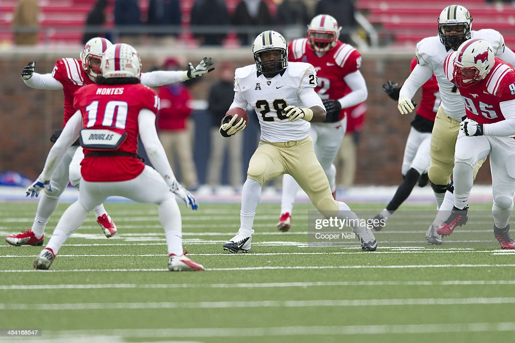 William Stanback #28 of the Central Florida Knights breaks free against the SMU Mustangs on December 7, 2013 at Gerald J. Ford Stadium in Dallas, Texas.