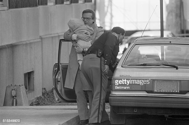 William Stern left father of Baby M delivers the baby to a county facility 3/5 for a visit with her mother Mary Beth Whitehead the baby's mother is...