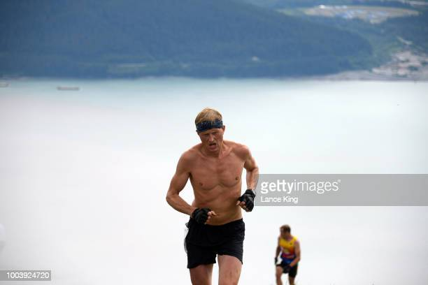 William Stoll approaches the top of Mount Marathon during the Men's Division of the 91st Running of the Mount Marathon Race on July 4 2018 in Seward...