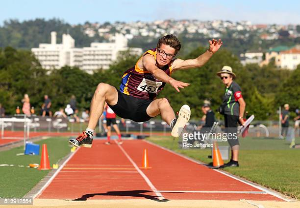 William Swan of Southland competes in the Mens Triple Jump Under 20 during the 2016 National Track Field Championships on March 6 2016 in Dunedin New...
