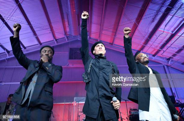 william Taboo and apldeap of Black Eyed Peas perform onstage at william's iamangel Foundation TRANS4M 2018 Gala Honoring Sean Parker Chairman Parker...