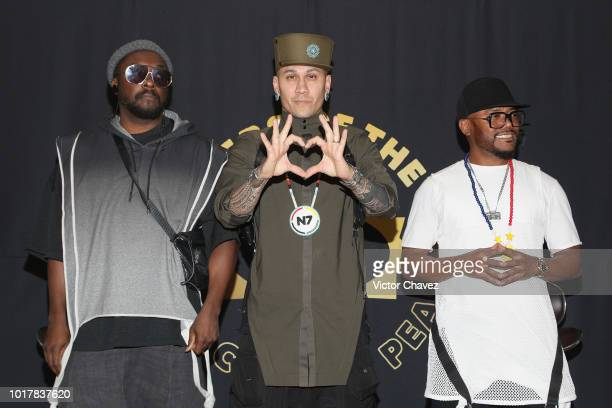 William Taboo and Apldeap of the Black Eyed Peas attend a press conference at Pepsi Center WTC on August 16 2018 in Mexico City Mexico