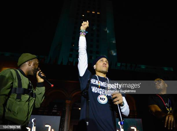 william Taboo and apldeap of The Black Eyed Peas perform onstage during the Inaugural Indigenous Peoples Day Celebration at Los Angeles Grand Park on...