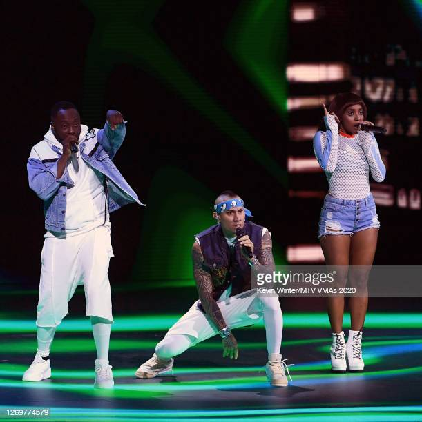 william Taboo and J Rey Soul of Black Eyed Peas perform at the 2020 MTV Video Music Awards broadcast on Sunday August 30 2020 in New York City