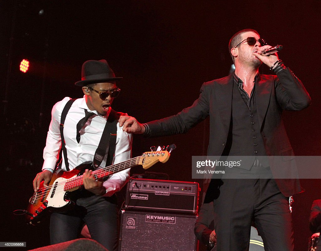 William Taylor and Robin Thicke perform at Day 1 of North Sea Jazz Festival at Ahoy on July 11, 2014 in Rotterdam, Netherlands.