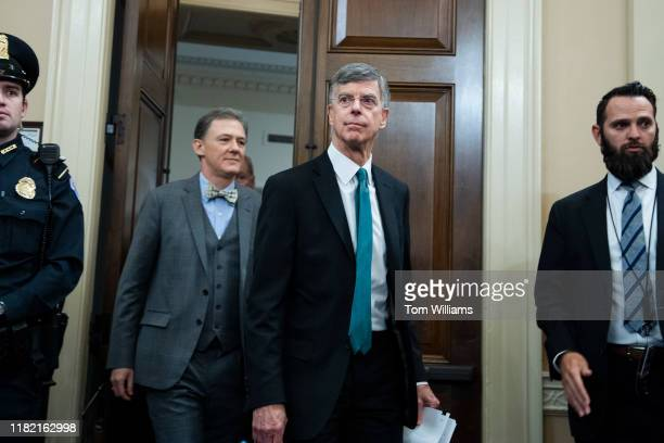 William Taylor right the senior US diplomat in Ukraine and George Kent deputy assistant secretary for European and Eurasian Affairs arrive to testify...