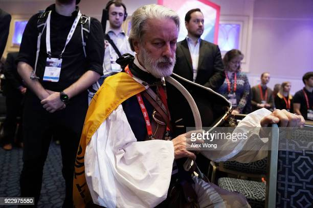 William Temple of Brunswick Georgia dresses as 1st and 6th Governor of Virginia Patrick Henry participates in an opening prayer during CPAC 2018...