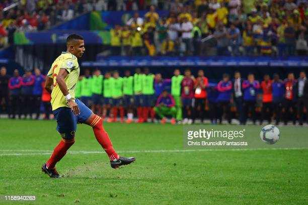 William Tesillo of Colombia misses during the penalty shoot-out following the Copa America Brazil 2019 quarterfinal match between Colombia and Chile...