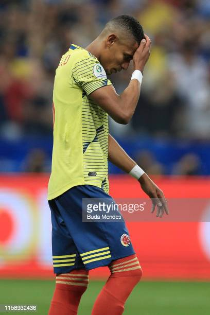 William Tesillo of Colombia reacts after failing his penalty during a shootout after the Copa America Brazil 2019 quarterfinal match between Colombia...