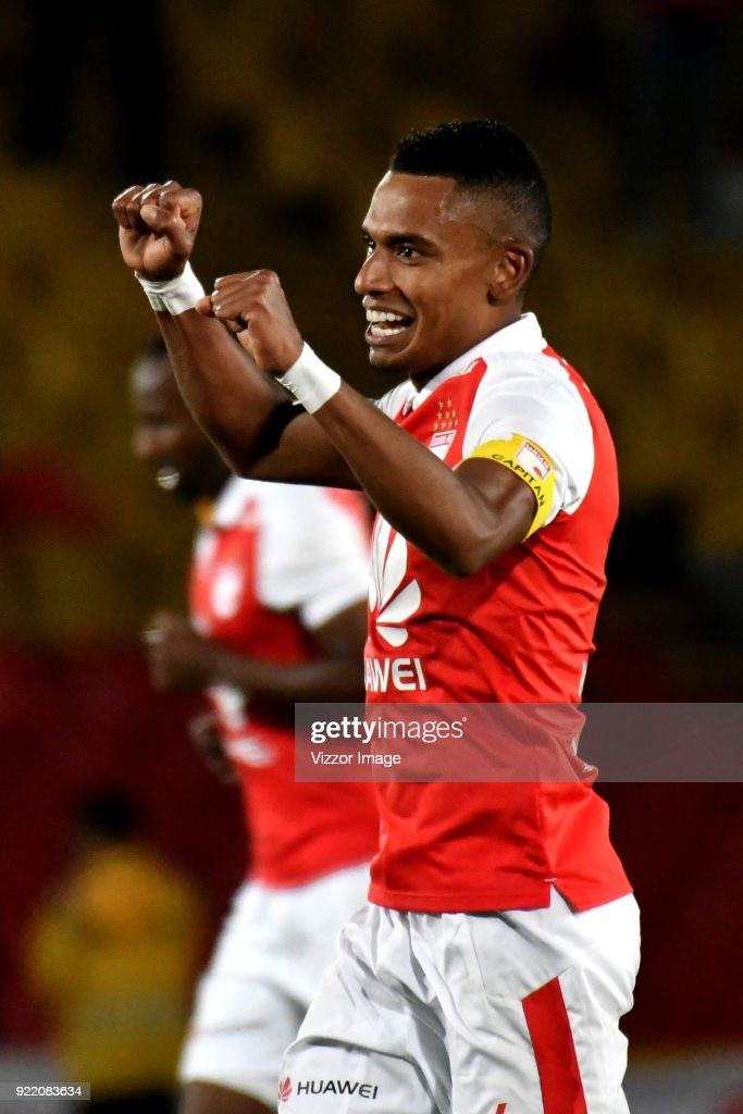William Tesillo of Independiente Santa Fe celebrates after scoring during a second leg match between Independiente Santa Fe and Santiago Wanderers as part of phase 3 of Copa Conmebol Libertadores 2018 at Nemesio Camacho Stadium on February 20, 2018 in Bogota, Colombia.