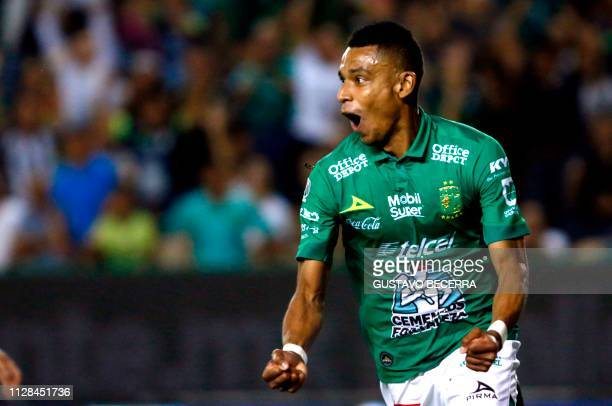 William Tesillo of Leon celebrates after scoring a goal during the Mexican Clausura 2019 tournament football match between Leon and Santos at the Nou...