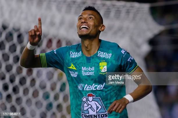 William Tesillo of Leon celebrates after scoring the third goal of his team during the 3rd round match between Leon and Pachuca as part of the Torneo...