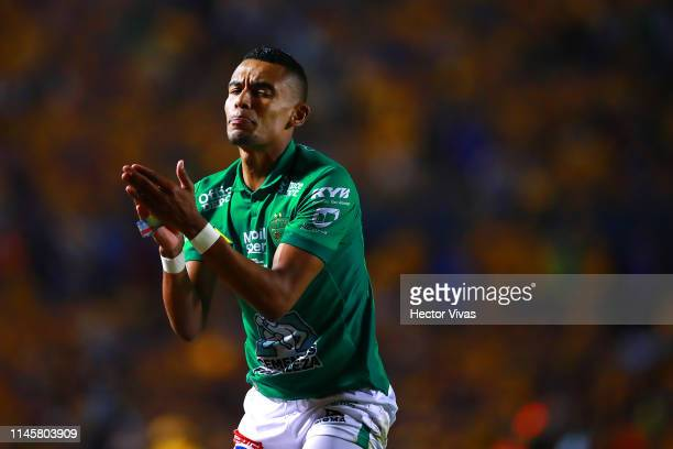 William Tesillo of Leon reacts during the Final first leg match between Tigres UANL and Leon as part of the Torneo Clausura 2019 Liga MX at...