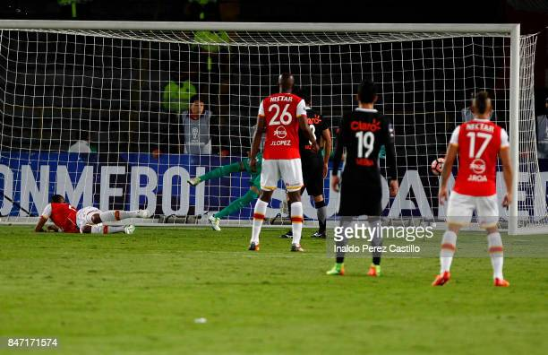 William Tesillo of Santa Fe scores the first goal of his team during a second leg match between Independiente Santa Fe and Libertad as part of round...