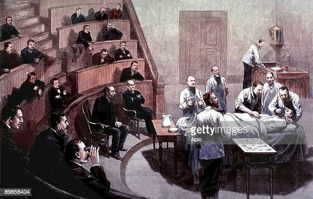 William TG Morton american dentist giving the first public demonstration of ether anesthesia in the Boston hospital october 16 drawing