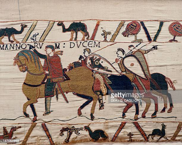 William the Conqueror and his escorts on horseback detail of Queen Mathilda's Tapestry or Bayeux Tapestry France 11th century