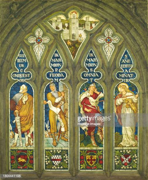 William the Conqueror presenting a charter to Lord Marmion, and Sleeping Lord Marmion being prodded by St. Editha, 1909. After a design by Ford Madox...