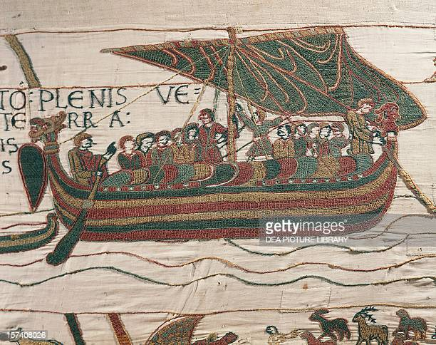 William the Conqueror's fleet crossing the English Channel detail from the Bayeux tapestry or the Tapestry of Queen Matilda France 11th century...