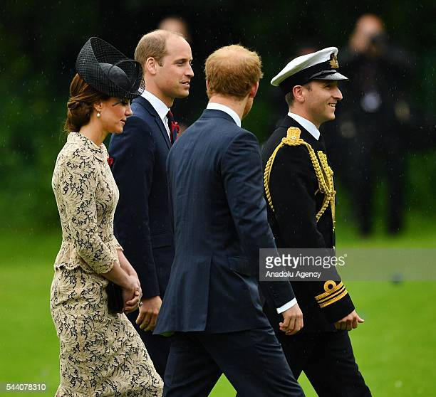 William the Duke of Cambridge , Catherine the Duchess of Cambridge and Britain Prince Harry attend the ceremony to mark the centenary of the Battle...