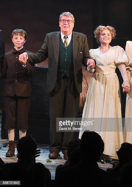 William Thompson Michael Crawford and Gemma Sutton take the curtain call at the press night of The GoBetween at The Apollo Theatre on June 7 2016 in...