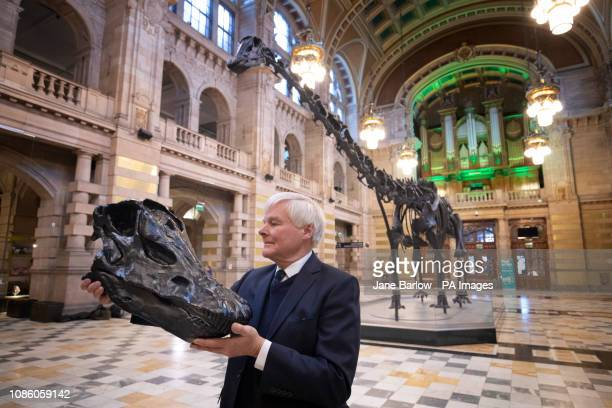 William Thomson great grandson of the ScottishAmerican philanthropist Andrew Carnegie takes a closer look at a plastic replica of the skull of Dippy...