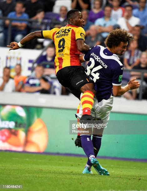 William Togui forward of KV Mechelen and Philippe Sandler defender of Anderlecht pictured during the Jupiler Pro League match between RSC Anderlecht...