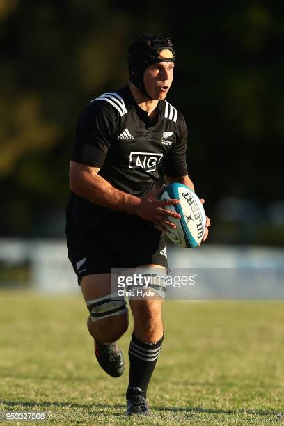 William Tremain of New Zealand runs the ball during the 2018 Oceania Rugby U20 Championship match between New Zealand and Fiji at Bond University on...