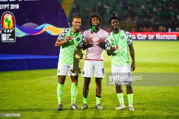 William Troost Ekong, Alexander Chuka Iwobi of Nigeria, Temitayo olufisayo olaoluwa Aina of Nigeria celebrate during the 2019 Africa Cup of Nations...