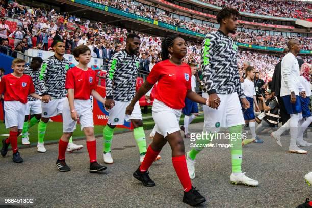 William Troost Ekong of Nigeria Bryan Idowu of Nigeria Alex Iwobi of Nigeria during the International Friendly match between England v Nigeria at the...