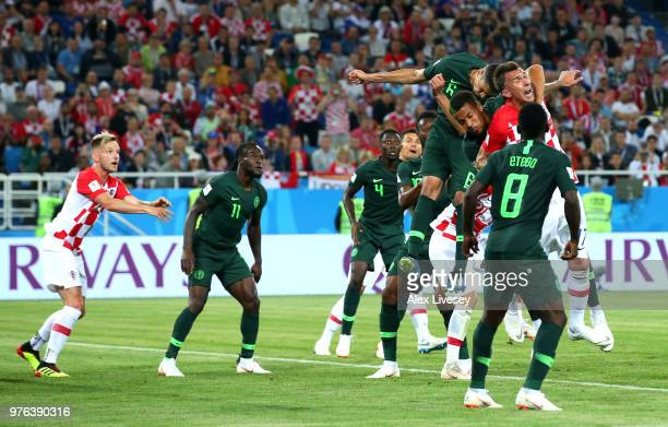 William TroostEkong of Nigeria pulls down Mario Mandzukic of Croatia in the box to concede a penalty during the 2018 FIFA World Cup Russia group D...
