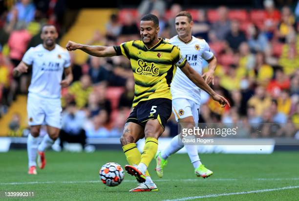 William Troost-Ekong of Watford passes the ball during the Premier League match between Watford and Wolverhampton Wanderers at Vicarage Road on...