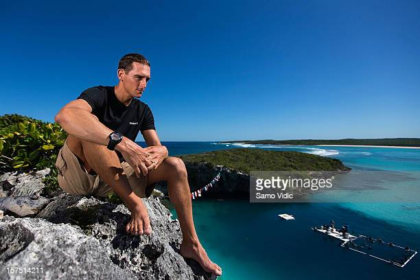 William Trubridge of New Zealand looks on before his free dive at Suunto free diving world cup on November 25 2012 in Long Island Bahamas