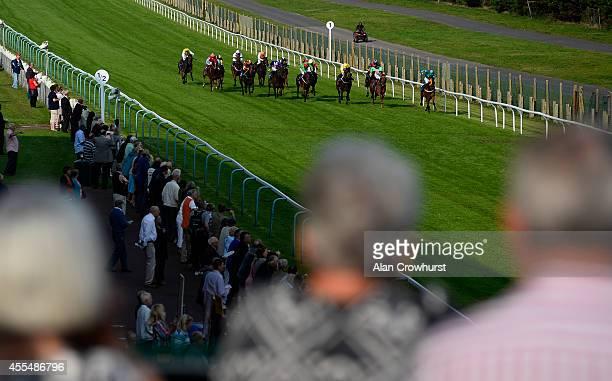 William TwistonDavies riding Pour La Victoire wins The Harveys Brewery Handicap Stakes at Brighton racecourse on September 15 2014 in Brighton England