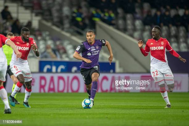 William Vainqueur of Toulouse defended by JeanKevin Augustin of Monaco and Tiemoue Bakayoko of Monaco during the Toulouse FC V AS Monaco French Ligue...