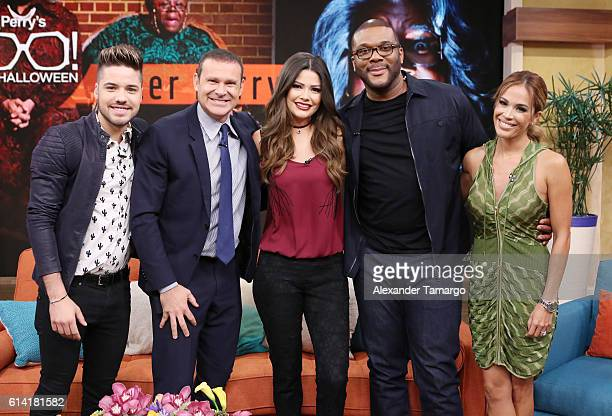 William Valdes Alan Tacher Ana Patricia Gamez Tyler Perry and Karla Martinez are seen on the set of Despierta America to promote the film Boo A Madea...