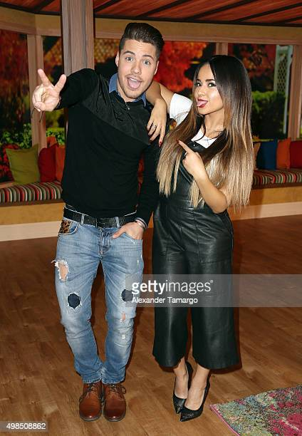 William Valdes and Becky G are seen on the set of 'Despierta America' at Univision Studios on November 23 2015 in Miami Florida