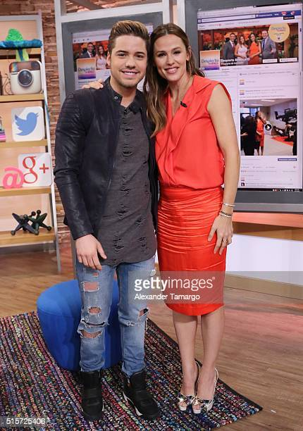 William Valdes and Jennifer Garner are seen on the set of 'Despierta America' to promote the film 'Miracles From Heaven' at Univision Studios on...