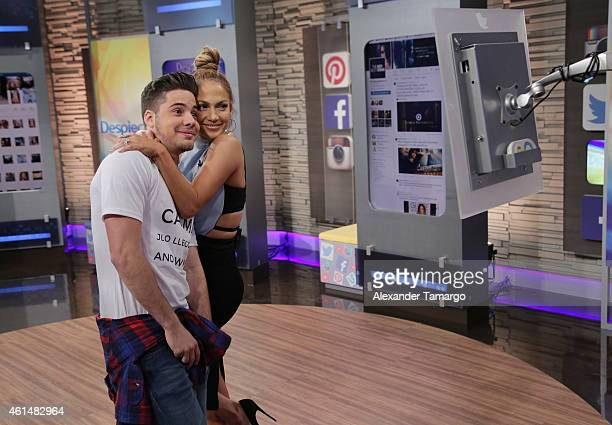 William Valdes and Jennifer Lopez are seen on the set of Despierta America to promote film The Boy Next Doorat Univision Headquarters on January 13...