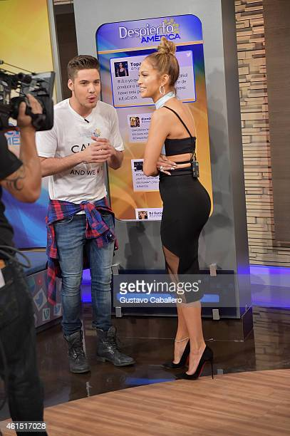 William Valdes and Jennifer Lopez is on the set of Despierta America to promote film 'The Boy Next Door'at Univision Headquarters on January 13 2015...