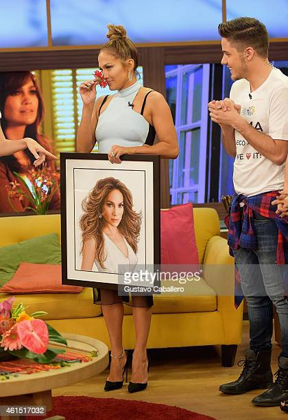 William Valdes and Jennifer Lopez is on the set of Despierta America to promote film The Boy Next Doorat Univision Headquarters on January 13 2015 in...