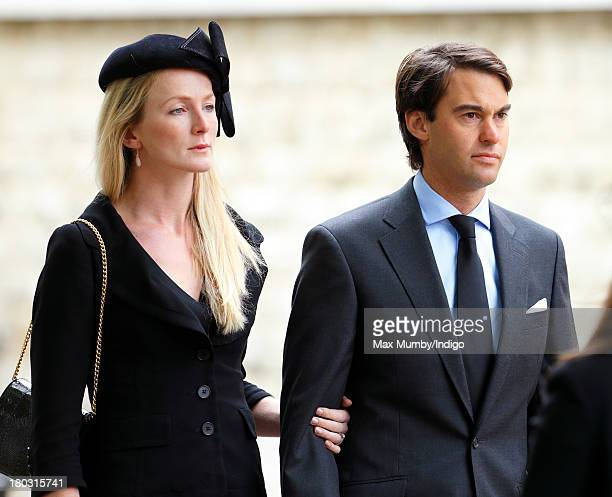 William van Cutsem accompanied by his wife Rosie van Cutsem attends a requiem mass for his father Hugh van Cutsem who passed away on September 2nd...