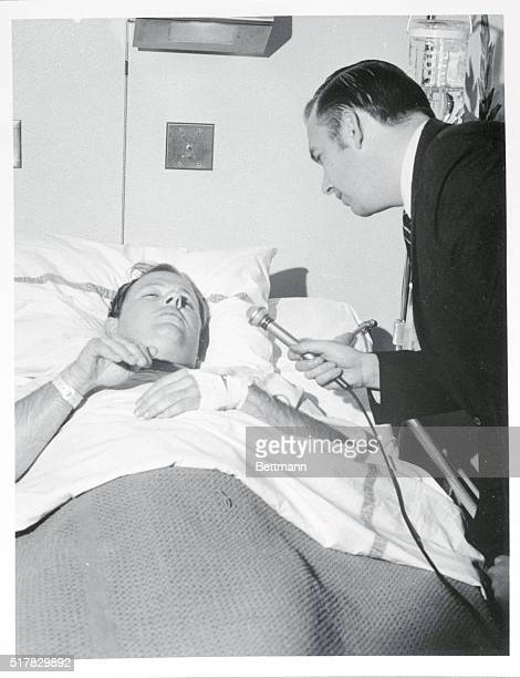 William Weisel an American Broadcasting Company Associate director is interviewd by hiws colleague Dave Jayne ABC news producer in his bed at the...