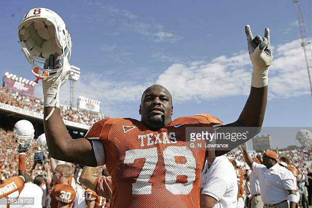 William Winston of the Texas Longhorns celebrates after a victory against the Oklahoma Sooners in the 100th annual Red River Rivalry at the Cotton...