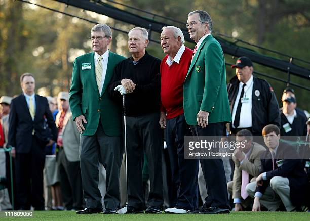 William WJohnson Jack Nicklaus Arnold Palmer and William Porter Payne pose on the first tee prior to starting the first round of the 2011 Masters...