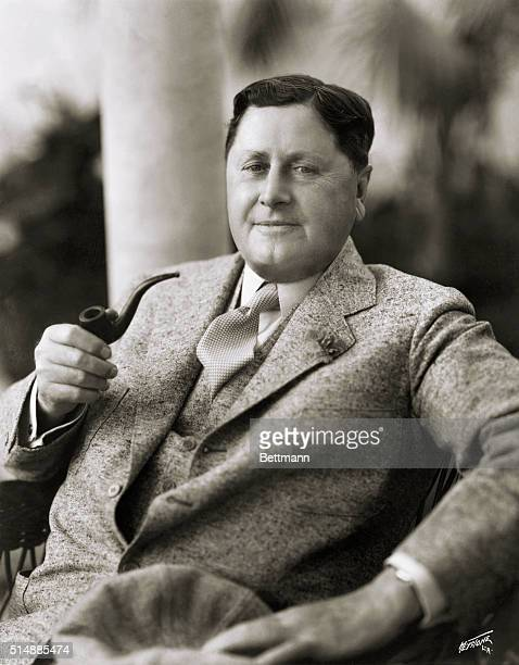 William Wrigley The man who gave us chewing gum smoking a pipe Undated photograph
