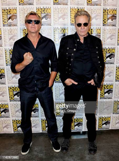 """William Zabka and Martin Kove attend the """"Cobra Kai: Past, Present, and Future"""" panel during 2019 Comic-Con International at San Diego Convention..."""