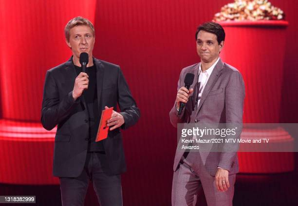 William Zabka and Ralph Macchio speak onstage during the 2021 MTV Movie & TV Awards at the Hollywood Palladium on May 16, 2021 in Los Angeles,...