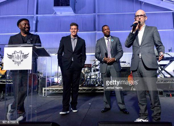 william Zack Krone Chris Tucker and Moby speak onstage at william's iamangel Foundation TRANS4M 2018 Gala Honoring Sean Parker Chairman Parker...