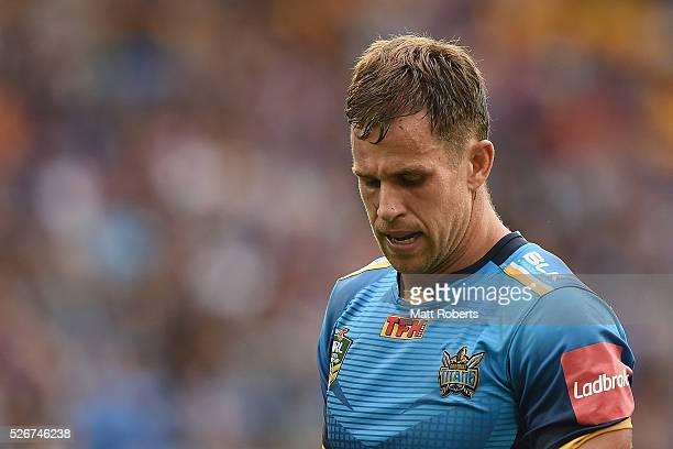 William Zillman of the Titans looks dejected during the round nine NRL match between the Gold Coast Titans and the Melbourne Storm on May 1 2016 in...